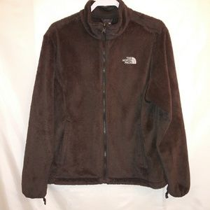 Brown North Face Furry Fleece Zipper Jacket